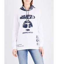 Aape By A Bathing Ape Logo Print Jersey Hoody White