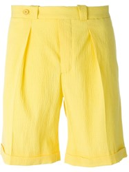 Carven Pleated Shorts Yellow And Orange