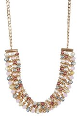 Joe Fresh Multi Color Bead Frontal Necklace Pink