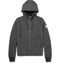 Moncler Gamme Bleu Elbow Patch Melange Cotton Blend Zip Up Hoodie Gray