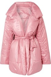 Norma Kamali Belted Quilted Shell Coat Baby Pink