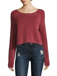 Frame Cropped Raglan Sleeve Cotton Sweater Rusted Berry