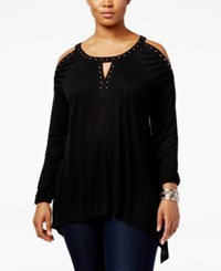 Inc International Concepts Plus Size Studded High Low Peasant Top Only At Macy's Deep Black