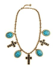 Gucci Beetle And Cross Pendant Bead Necklace Blue