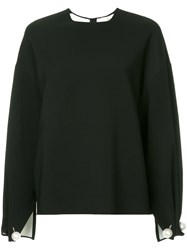 Ports 1961 Pearl Embellished Oversized Blouse Black