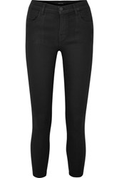 J Brand Alana Coated High Rise Skinny Jeans Black