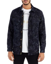True Religion Camouflage Print Denim Field Jacket 3443 Indigo Camo