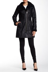 7 For All Mankind Faux Shearling Asymmetric Zip Coat Black