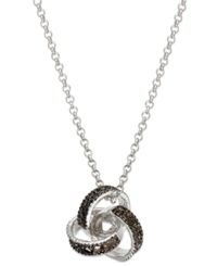 Victoria Townsend Sterling Silver Necklace Black Diamond Accent Love Knot Pendant