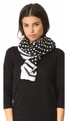 Kate Spade New York Polka Dot Stripe Oblong Scarf Black
