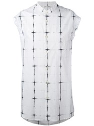 Saint Laurent Tie Dye Plaid Sleeveless Shirt Men Cotton 38 White
