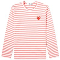 Comme Des Garcons Play 'S Long Sleeve Red Heart Stripe Tee Pink