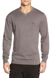 Men's Volcom 'Upstand' Slim Fit V Neck Sweater Dark Grey