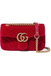 Gucci Gg Marmont Mini Quilted Velvet Shoulder Bag Red