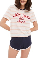 Topshop Women's Lazy Days Pajamas White Multi