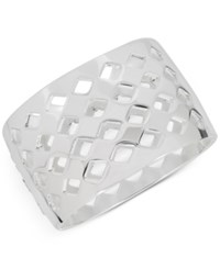 Touch Of Silver Openwork Wide Hinged Bangle Bracelet In Plate Silver