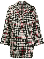 Red Valentino Double Breasted Houndstooth Coat Red