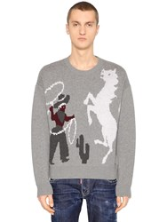 Dsquared Rodeo Wool Jacquard Sweater Grey