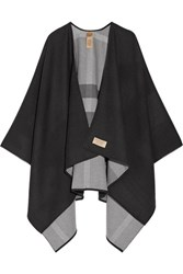 Burberry Reversible Checked Merino Wool Wrap Charcoal