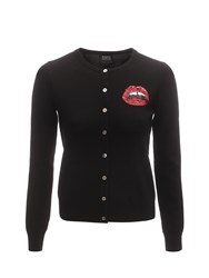 Markus Lupfer Black Red Sequin Mini Lara Lip April Cardigan