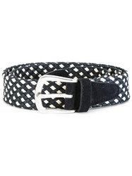 Eleventy Interlaced Design Belt Blue