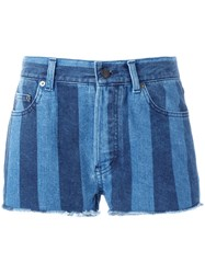 Saint Laurent Striped Denim Shorts Blue