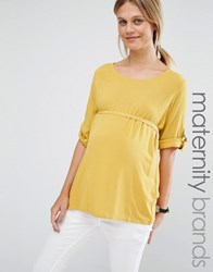 Mama Licious Mamalicious Woven Top With D Ring Detail Yellow