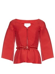 Oscar De La Renta V Neck Techno Cotton Blend Jacket Red