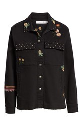Billy T Embroidery Stud Detail Cotton Twill Jacket Black