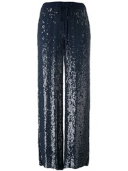 P.A.R.O.S.H. Sequins Flared Trousers Blue