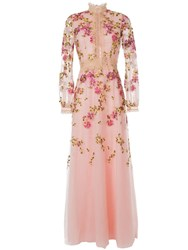 Costarellos Flower Embroidered Gown Pink
