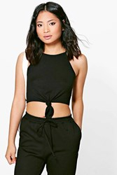 Boohoo Gia Knot Front High Neck Crop Top Black