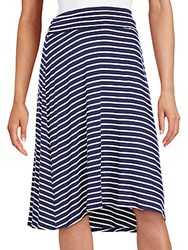 Bobeau Striped Flip Flop Skirt Navy White