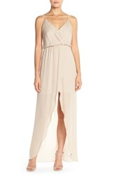 Women's Rory Beca 'Jones' Silk Georgette Faux Wrap Gown Nude