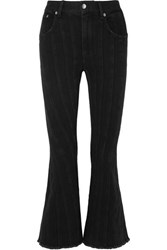 Thierry Mugler Frayed Paneled Mid Rise Flared Jeans Black