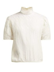 Thierry Colson Sabrina Lace Trimmed Cotton Blend Blouse White