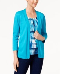Alfred Dunner Scenic Route Printed Layered Look Sweater Turquoise