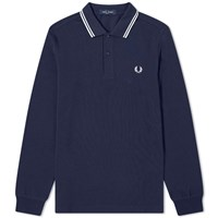 Fred Perry Authentic Long Sleeved Twin Tipped Polo Blue