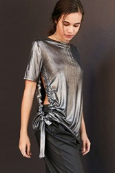 Cheap Monday Metallic Side Tie Tee Silver