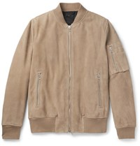 Rag And Bone Manston Suede Bomber Jacket Beige