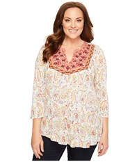 Lucky Brand Plus Size Embriodered Bib Top Natural Multi Women's Long Sleeve Pullover