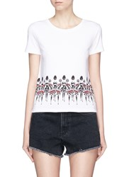 Alice Olivia Beaded Stacey Print T Shirt White