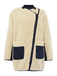 Maison Scotch Ow Teddy Cocoon Shaped Jacket Cream