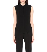 Alexander Mcqueen Pleated Silk Sleeveless Shirt Black