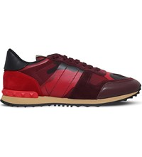 Valentino Camouflage Leather And Suede Trainers Red