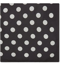 Eton Polka Dot Silk Pocket Square Black