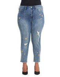 Melissa Mccarthy Seven7 Plus Distressed Star High Rise Jeans Blue