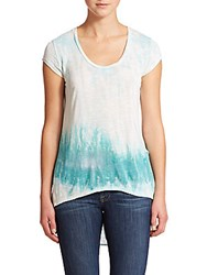 Young Fabulous And Broke Draped Watercolor Hi Lo Top Turquoise Watercolor
