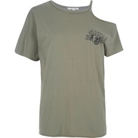 River Island Khaki Green Cut Out Shoulder T Shirt
