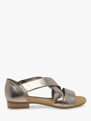 Gabor Sweetly Wide Fit Leather Flat Sandals Metallic